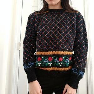 Vintage Wool Floral Sweater